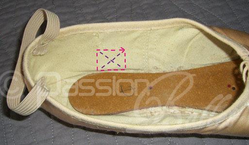 place des rubans sur les chaussons de pointes