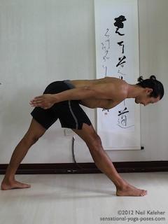 Position recherchée sauf que les mains sont en appui sur la barre dans le prolongement de la tête